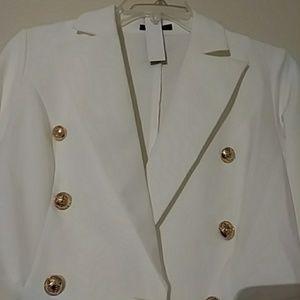 ultrachicfashion.com Jackets & Coats - Ivory White Peplum Blazer